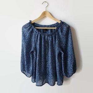 H&M Sheer Flowy Blue Peasant Blouse Boho Gypsy